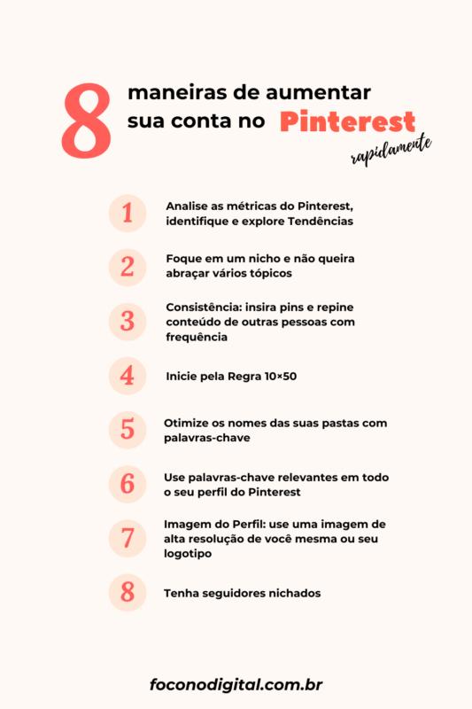 8 maneiras de aumentar sua conta no Pinterest rapidamente!