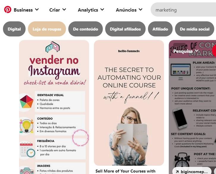 Pinterest: Use palavras chave em seu perfil, pastas e pins